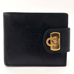 Salvatore Ferragamo Bi-fold wallet Gancio Vintage Leather Black [Used] Unisex