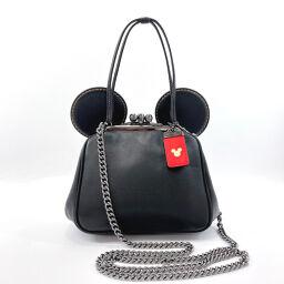 COACH Coach Handbag 10215 Disney Collaboration Mickey Mouse 2way Leather Black [Used] Ladies