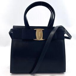 Salvatore Ferragamo Salvatore Ferragamo Handbag Vala Ribbon 2way Vintage Leather Navy [Used] Ladies