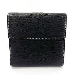 LOEWE Loewe Bi-Fold Wallet Anagram Leather Black Black [Used] Men's