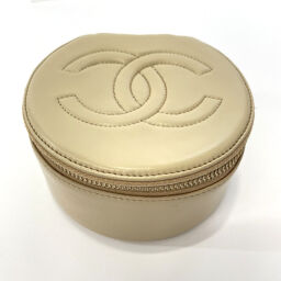 CHANEL Other accessories Coco mark Jewelry case Leather beige [Used] Ladies
