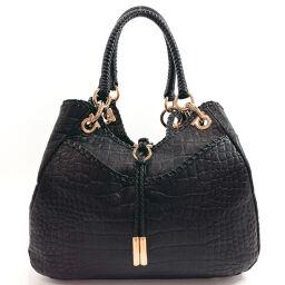 Salvatore Ferragamo Salvatore Ferragamo Handbag Croco Pattern Gancini Leather Black [Used] Ladies