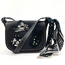 COACH Coach Shoulder Bag F59355 Mickey Mouse Collaboration Bandana Leather Black [Used] Ladies