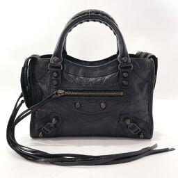 BALENCIAGA Balenciaga Handbag 300295 Classic Mini City The City Leather Black [Used] Ladies
