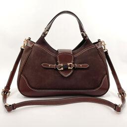 Salvatore Ferragamo Salvatore Ferragamo Handbag DH-21C807 Gancio 2way Leather Brown [Used] Ladies