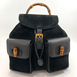GUCCI Gucci Backpack Daypack Bamboo Suede / Leather Black [Used] Ladies