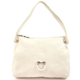 Salvatore Ferragamo Salvatore Ferragamo Shoulder Bag AU-21 / A912 Gancio Leather White [Used] Ladies