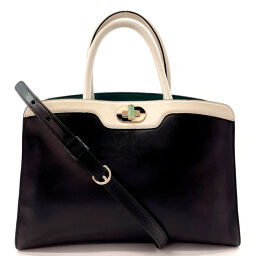 BVLGARI Bvlgari Handbag AX ・ F14.38010 2WAY Handbag Isabella Rossellini Leather Black Black [Used] Ladies