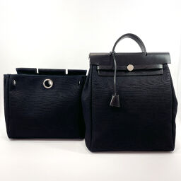 HERMES Hermes Backpack Daypack Ale Bag Ad PM Canvas / Leather Black □ C Engraved Engraved [Used] Ladies