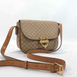 CELINE Celine Vintage Macadam Pattern Shoulder Bag PVC Beige Brown [Used] Ladies