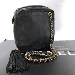 CHANEL Chanel Matrasse Chain Shoulder Bag Leather Black [Used] Ladies