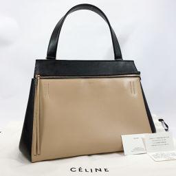 CELINE Celine Edge Medium 172613PED 02BG Handbag Leather Beige Black [Used] Ladies