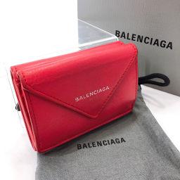 BALENCIAGA Balenciaga Paper Mini Wallet 391446 Tri-Fold Wallet Leather Red [Used] Ladies