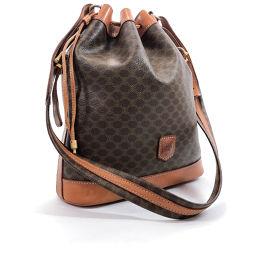 CELINE Celine Vintage Drawstring Macadam M94 Shoulder Bag PVC Brown [Used] Ladies