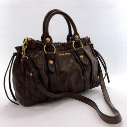 MIUMIU Miu Miu Materasse Handbag Leather Brown [Used] Ladies