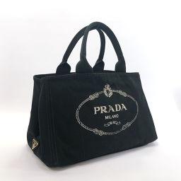 PRADA プラダ カナパ  1BG642 ハンドバッグ キャンバス ブラック【中古】 レディース