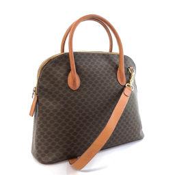 CELINE Celine Vintage Macadam Pattern Handbag PVC / Leather Brown M94 Engraved [Used] Ladies
