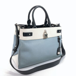 Michael Kors Michael Kors Handbag 30S8SG7S6L Medium Satchel Leather Blue White [Used] Ladies