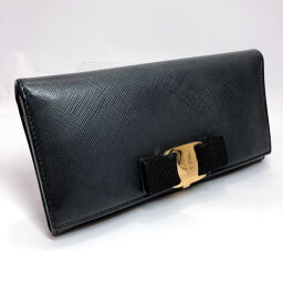 Salvatore Ferragamo Salvatore Ferragamo Long Wallet Vala Ribbon Leather Black [Used] Ladies