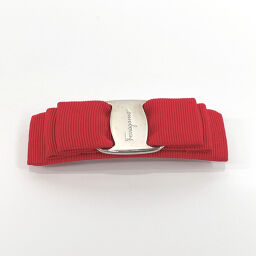 Salvatore Ferragamo Salvatore Ferragamo Vara Ribbon Nylon / Silver Hardware Red Silver [Used] Ladies