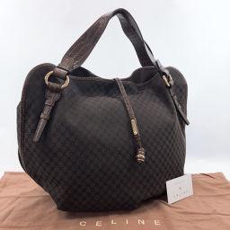 CELINE Celine Macadam Tote Bag Canvas / Leather Brown [Used] Ladies