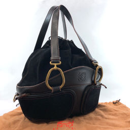 LOEWE Loewe Drawstring Shoulder Bag Suede / Leather Black [Used] Ladies