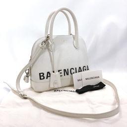 BALENCIAGA バレンシアガ ショルダーバッグ 518873 ビル トップ ハンドルS レザー ホワイト【中古】 レディース