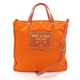 PRADA プラダ トートバッグ 2way ナイロン オレンジ【中古】 レディース