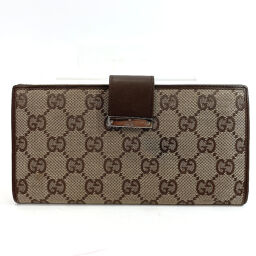 GUCCI Gucci wallet GG canvas / leather brown [used] ladies
