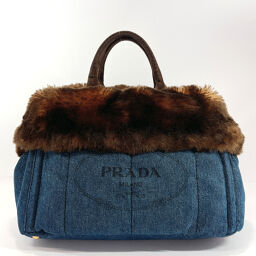 PRADA Prada Tote Bag BN2182 Kanapa L Denim / Faux Fur Denim Blue [Used] Ladies