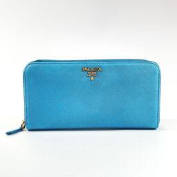 PRADA Prada Long Wallet Round Zip Saffiano Leather Blue [Used] Ladies
