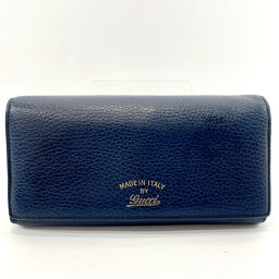 GUCCI Gucci long wallet 354498 leather navy blue [used] ladies