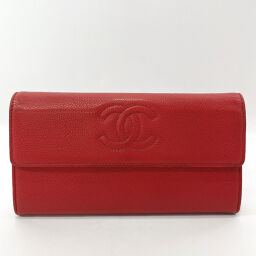 CHANEL Chanel Long Wallet Coco Mark Matte Caviar Skin Red [Used] Ladies