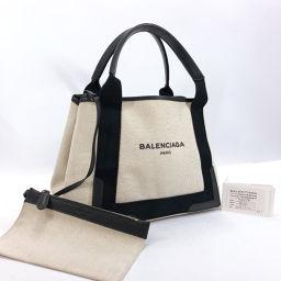 BALENCIAGA Balenciaga Navy Cabass 339933 Tote Bag Canvas White Black [Used] Ladies