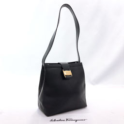 Salvatore Ferragamo Shoulder Bag Vala Vintage Leather Black Gold Hardware [Used] Ladies