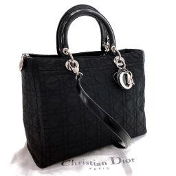 Christian Dior クリスチャンディオール ハンドバッグ レディ ディオール カナージュ ナイロン ブラック【中古】 レディース
