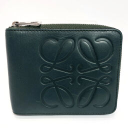 LOEWE Loewe Bi-Fold Wallet Wallet Anagram Leather Green [Used] Men's