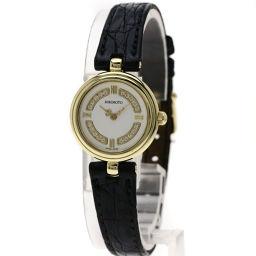 MIKIMOTO【ミキモト】 腕時計 K18イエローゴールド/革/革 レディース