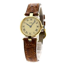 CARTIER【カルティエ】 腕時計 シルバー/革/革 レディース