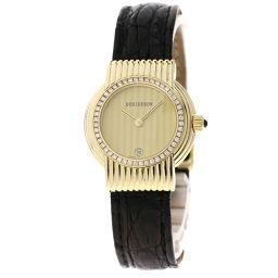 Boucheron【ブシュロン】 腕時計 K18イエローゴールド/革/革ダイヤモンド レディース