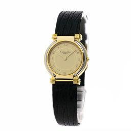 Christian Dior【クリスチャンディオール】 腕時計 GP/革/革 レディース