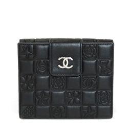 CHANEL【シャネル】 二つ折り財布(小銭入れあり) ラムスキン レディース