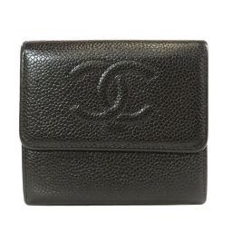 CHANEL【シャネル】 二つ折り財布(小銭入れあり) キャビアスキン レディース