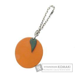 HERMES【エルメス】 オレンジ キーホルダー レザー/シルバー/シルバー レディース