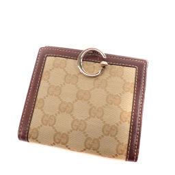 GUCCI【グッチ】 二つ折り財布(小銭入れあり) キャンバス/レザー/レザー レディース