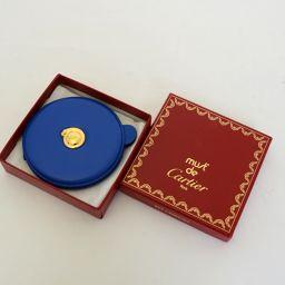 CARTIER【カルティエ】 ミラー パンテール ブルー 丸型 ゴールド金具 その他 レザー レディース