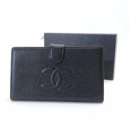 CHANEL【シャネル】 ココマーク 二つ折り財布(小銭入れあり) キャビアスキン レディース