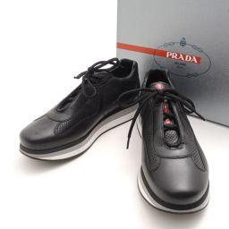 PRADA【プラダ】 プラダスポーツ パンチングレザースニーカー 8 1/2 約27.5cm その他 レザー メンズ