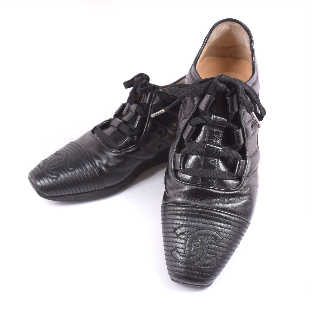 Authentic Chanel Coco Mark Sneakers Black Leather Women Ebay