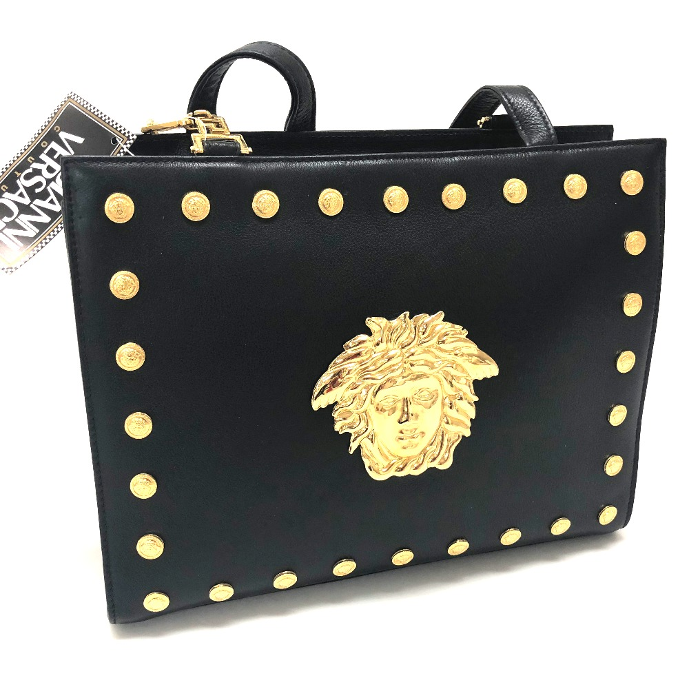 Details About Authentic Gianni Versace Medusa Studs Tote Bag Shoulder Black Leather
